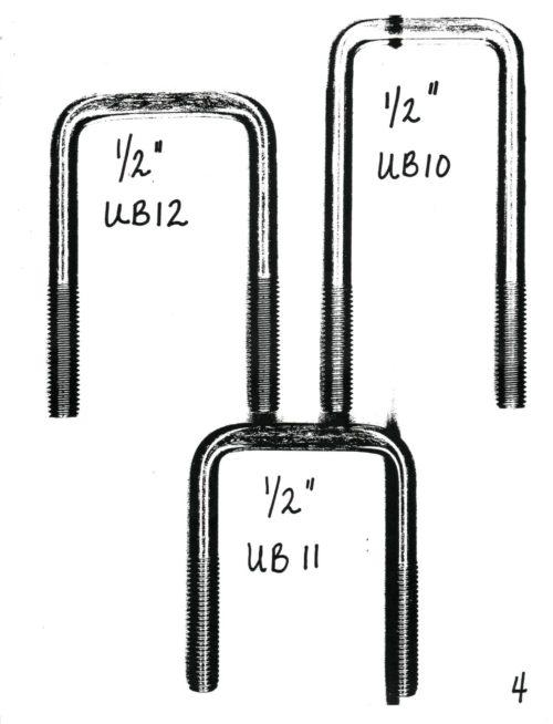 "½"" GALVANIZED U-BOLTS 5"" & Up 2"